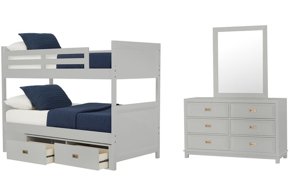Ryder Gray Bunk Bed Storage Bedroom