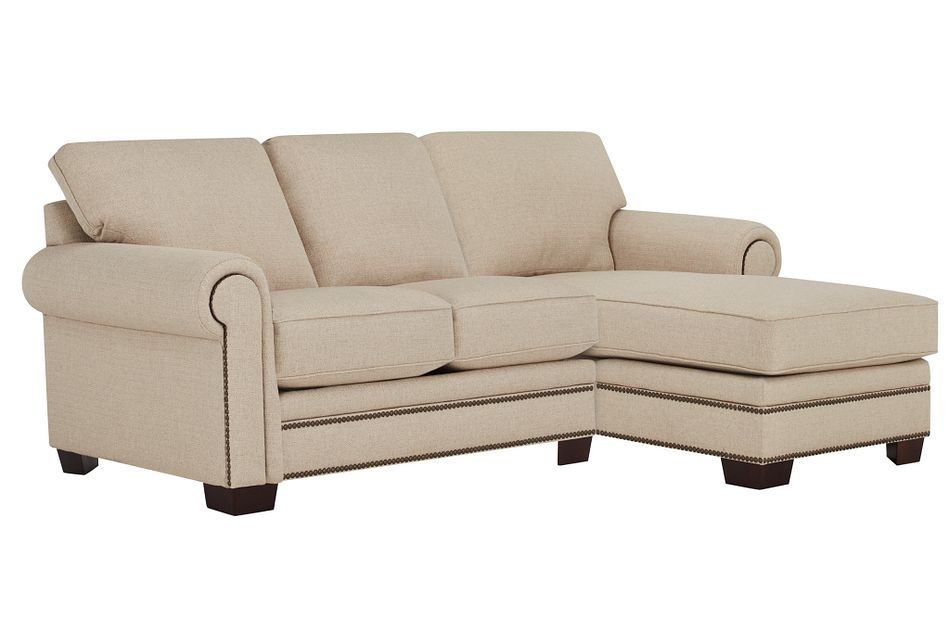 Foster Khaki Fabric Small Right Chaise Sectional