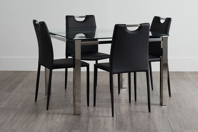 Skyline Black Square Table & 4 Upholstered Chairs (0)