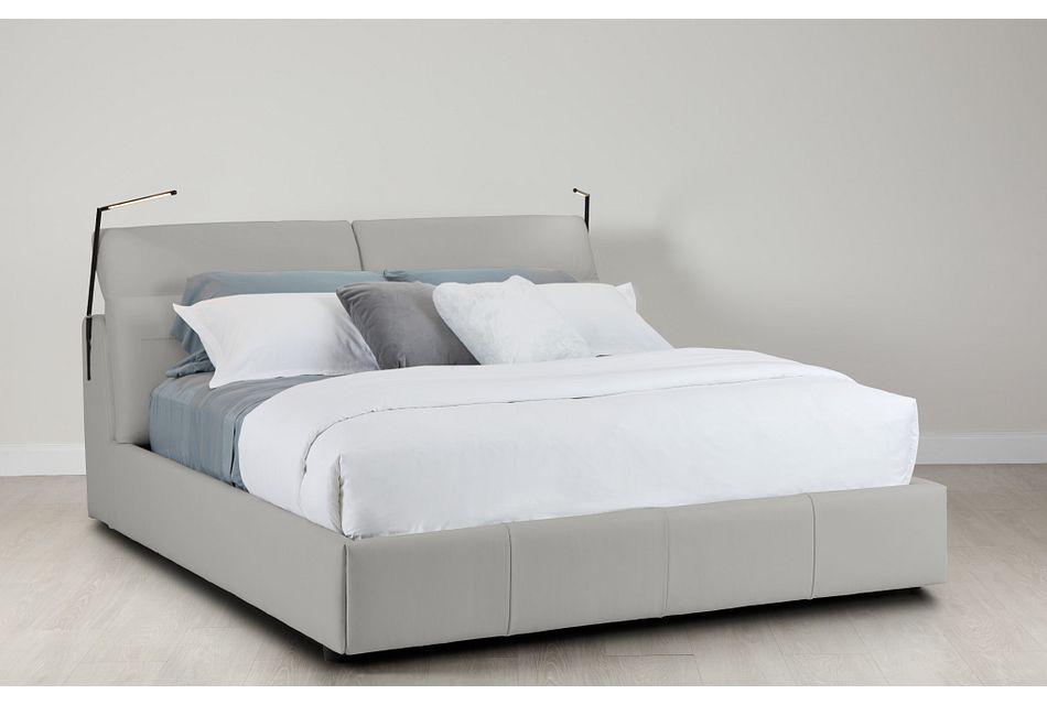 Montez Light Gray Leather Power Adjustable Headrest Platform Bed