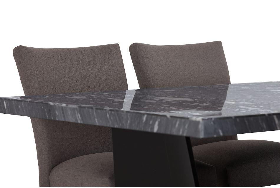 Auburn Dark Gray High Table & 4 Dark Gray Upholstered Barstools, %%bed_Size%% (3)