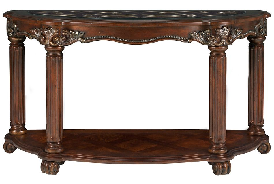 Regal Dark Tone Glass Sofa Table