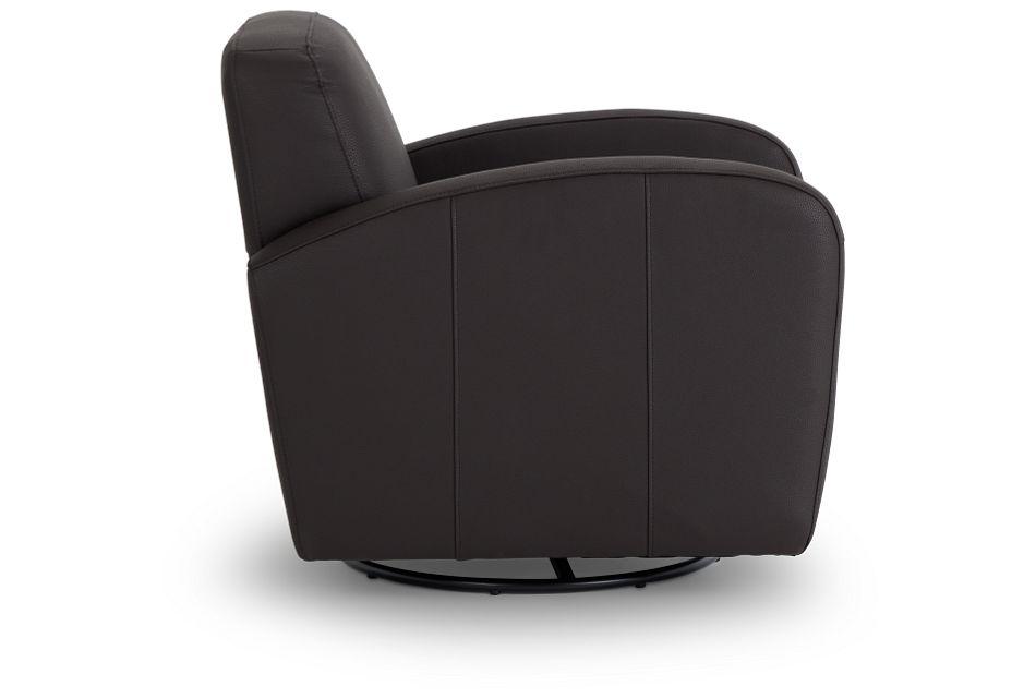 Axis Dark Brown Vinyl Swivel Accent Chair,  (2)