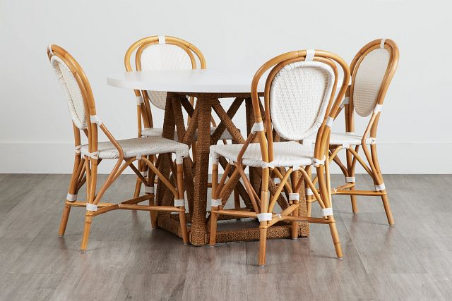 Greenwich Two-tone Round Table & 4 Rattan Chairs (0)