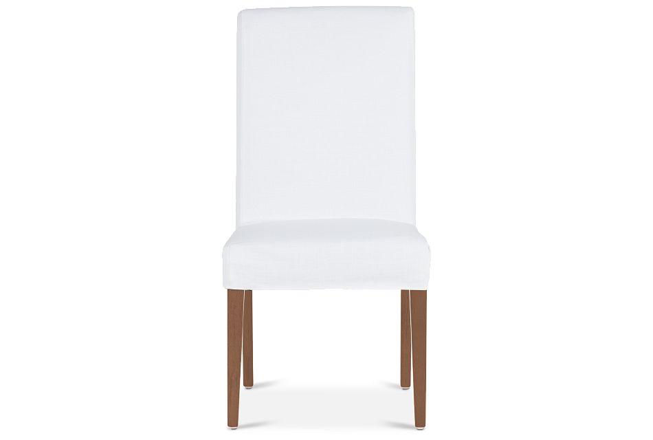 Destination White Short Slipcover Chair With Light Tone Leg