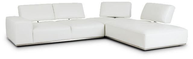 Landon White Leather Right Bumper Sectional (3)
