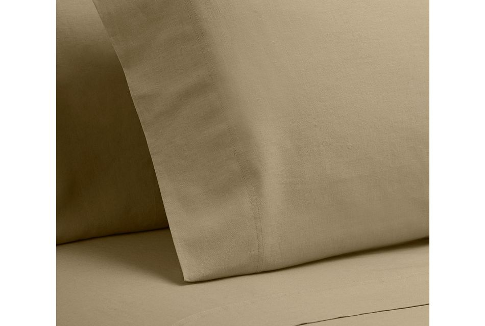 Linen Blend Khaki  Set Of 2 Pillowcases
