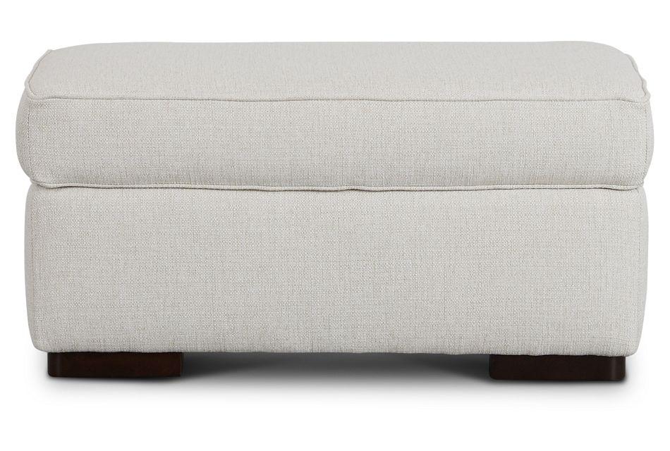 Austin White Fabric Ottoman,  (3)
