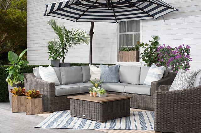 Cayman Dark Blue Stripe Cantilever Umbrella Set (2)