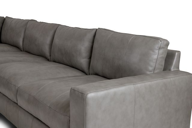 Dawkins Gray Leather Large Two-arm Sectional