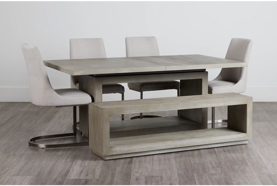 Madden Light Tone Rect Table, 4 Chairs & Bench,  (0)