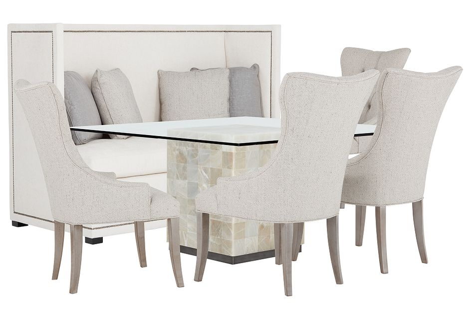 Trimbelle Stone Table, 4 Chairs & Bench
