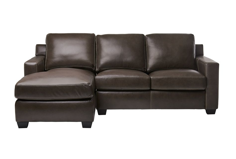 Carson Dark Brown Leather Small Left Chaise Sectional