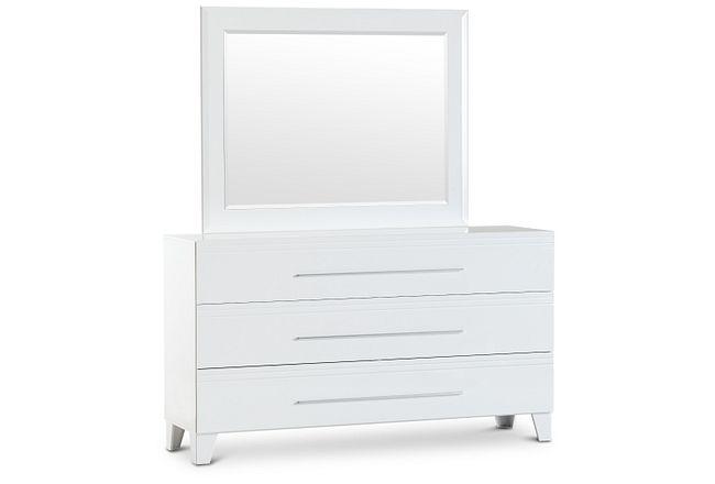 Midtown White Dresser & Mirror