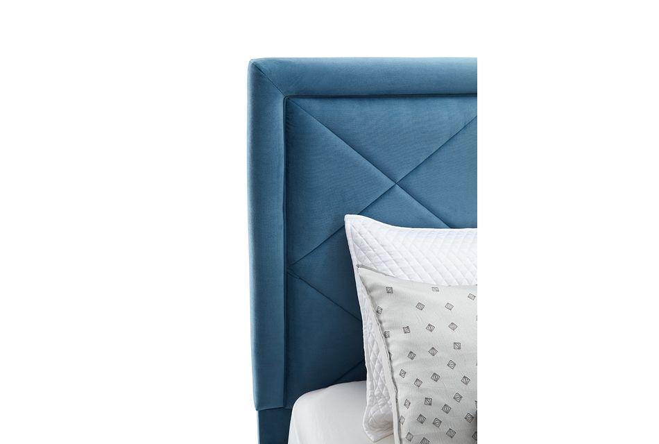 Collin Blue Velvet Platform Bed, King (2)