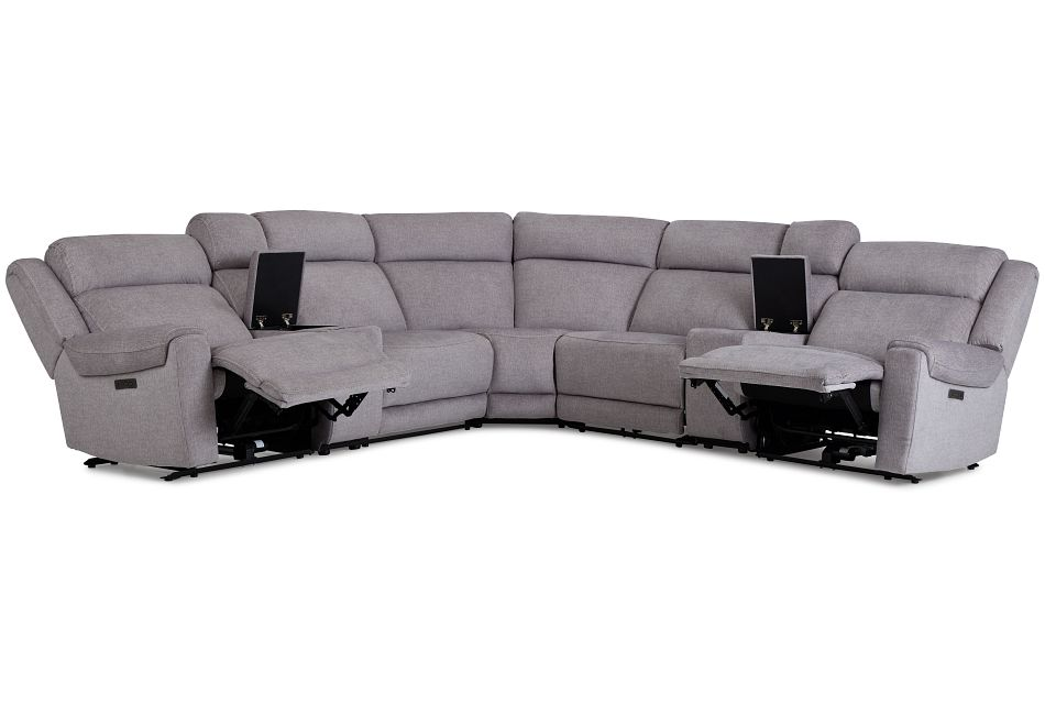Beckett Gray Micro Large Dual Power Reclining Two-Arm Sectional,  (3)