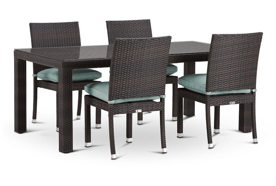 "Zen Teal 72"" Rectangular Table & 4 Chairs"