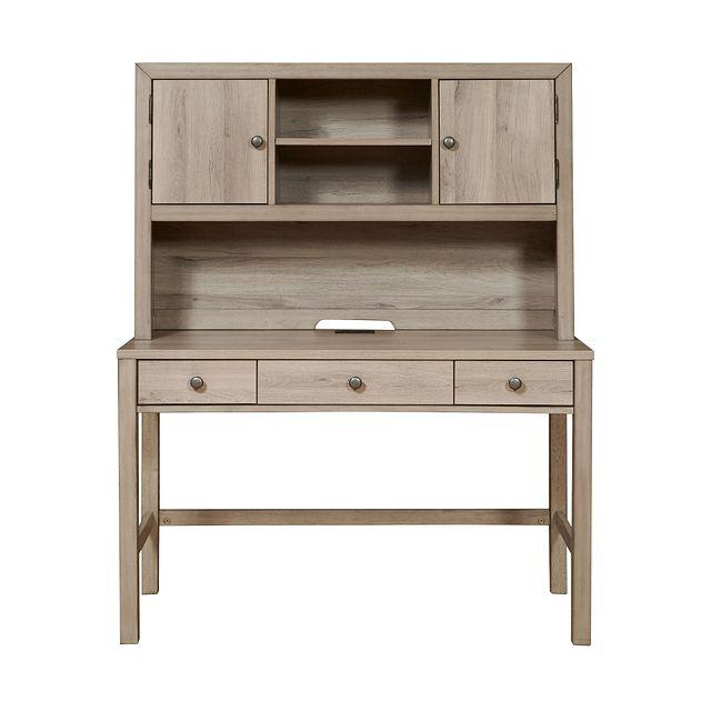 Rivercreek Gray Wood Desk And Hutch (3)