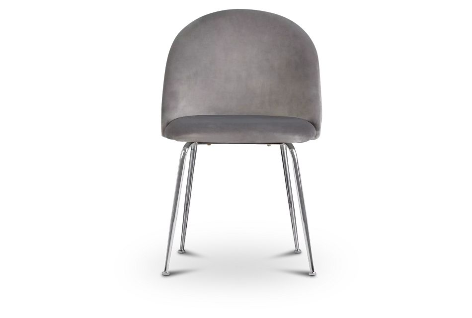 Capri GRAY  Upholstered Side Chair w/ Chrome Legs