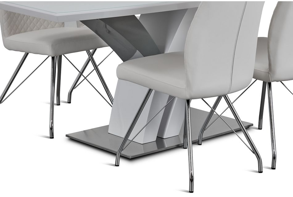 Lima White Table & 4 Upholstered Chairs