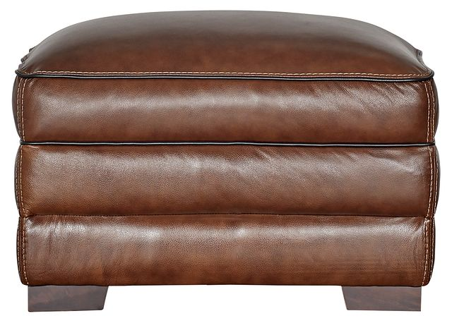 Alexander Medium Brown Leather Ottoman (1)
