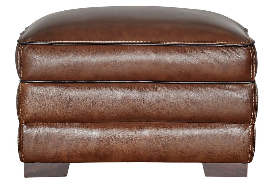 Alexander Medium Brown Leather Ottoman