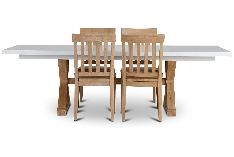 Nantucket Two-Tone White Trestle Table & 4 Light Tone Chairs,  (3)