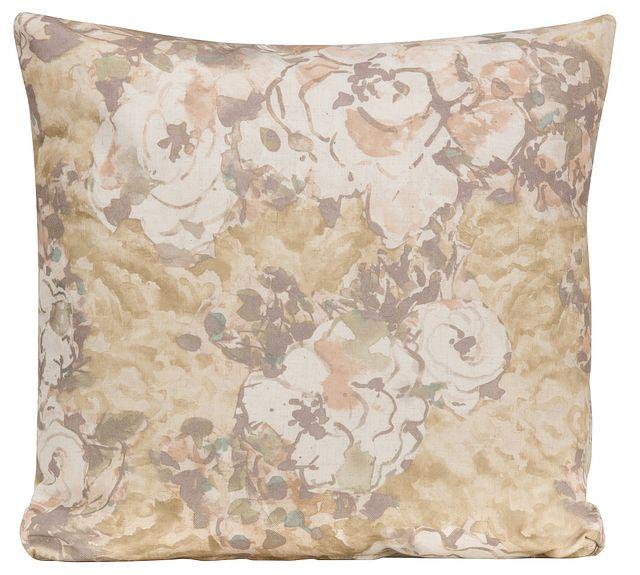 Primrose Gold Fabric Square Accent Pillow