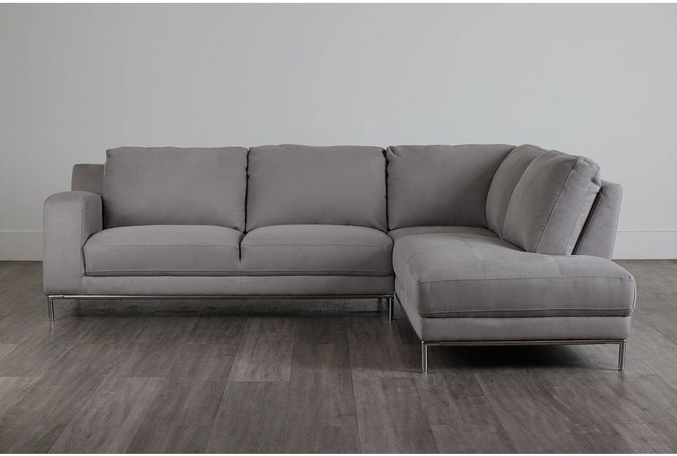 Wynn Light Gray Micro Right Chaise Sectional,  (0)