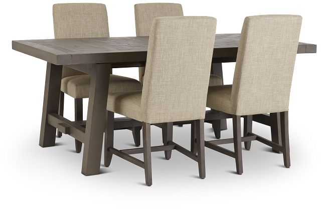 Taryn Gray Rect Table & 4 Upholstered Chairs (1)