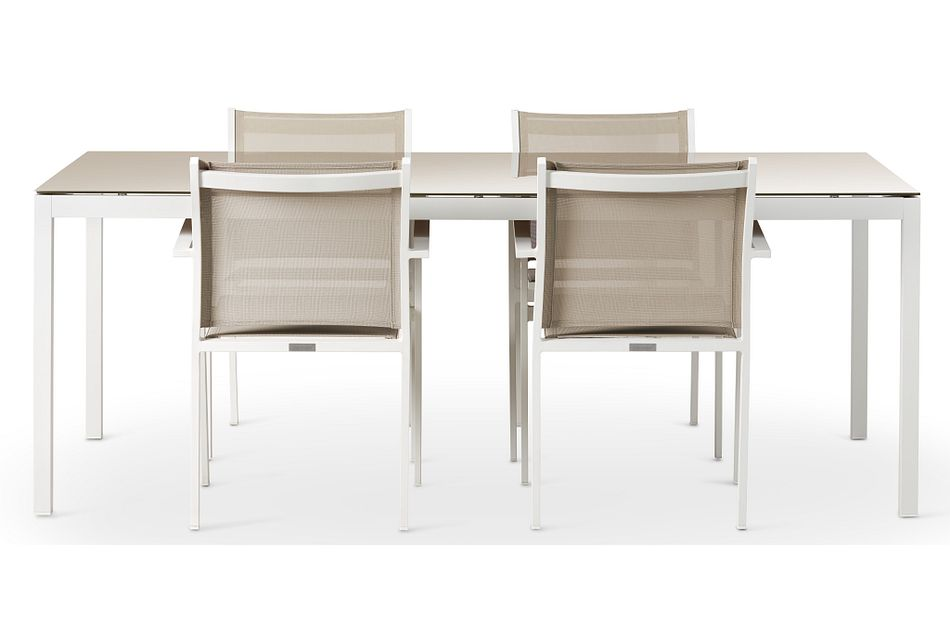 """Aventura Champagne 78"""" Table & 4 Arm Chairs,  (2)"""