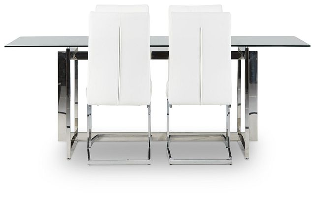 Bronx Glass White Table & 4 Upholstered Chairs (2)