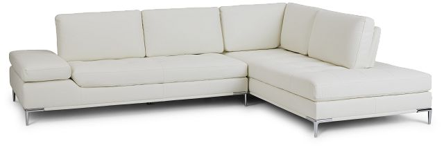 Camden White Micro Right Chaise Sectional (1)
