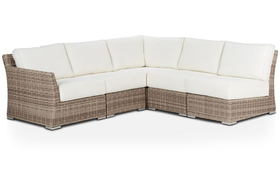 Raleigh White Left 5-piece Modular Sectional