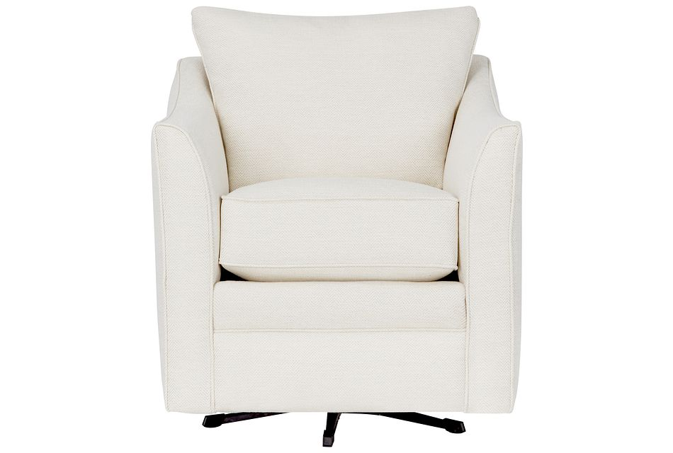Avery White Fabric Swivel Rocking Glider