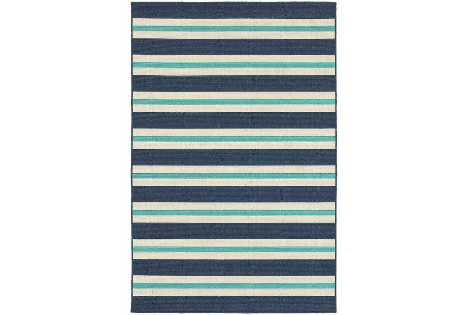 Mercy Blue Stripe Indoor/outdoor 8x10 Area Rug