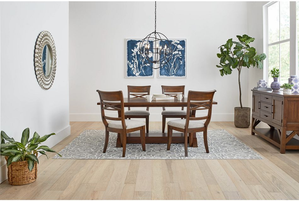 Bloomington Dark Tone Rect Table & 4 Upholstered Chairs,  (1)