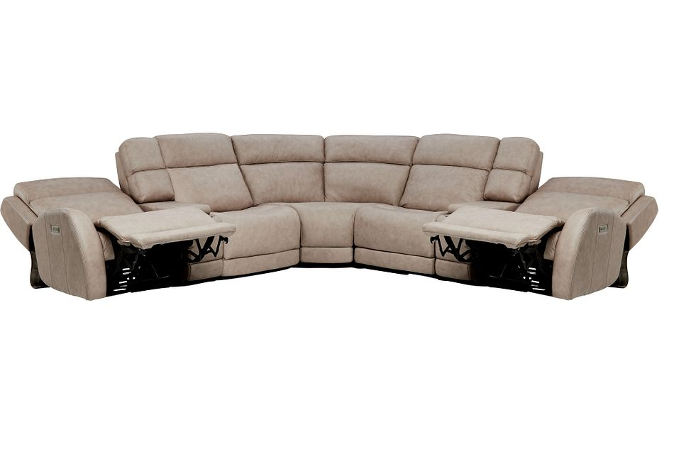 Rawlings Taupe Leather Large Dual Power Reclining Two-arm Sectional
