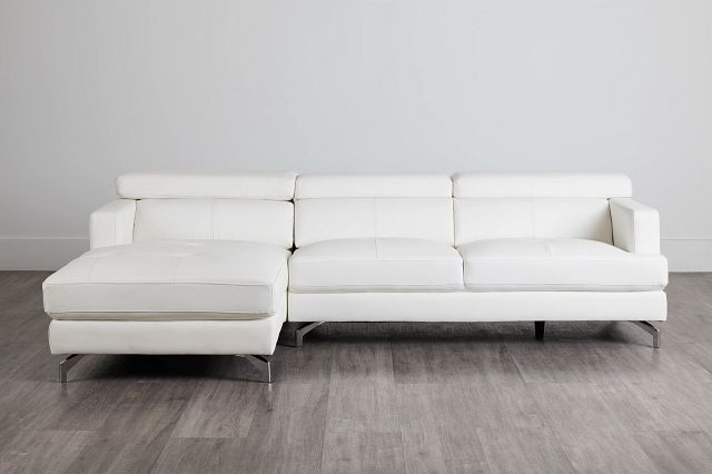Marquez White Micro Left Chaise Sectional (0)