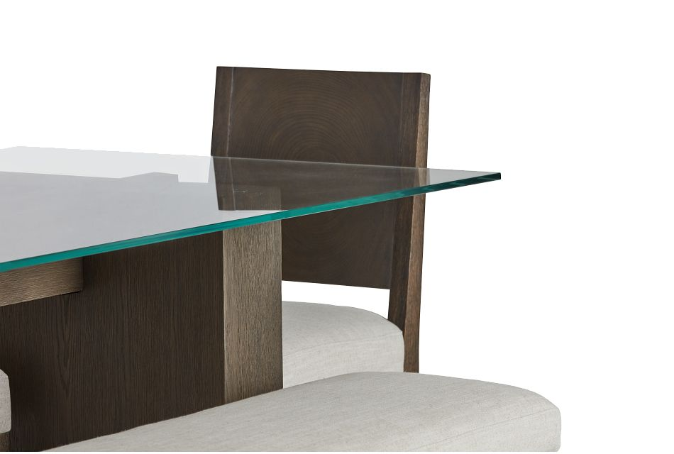 Oakland Dark Tone Glass Table, 4 Chairs & Bench
