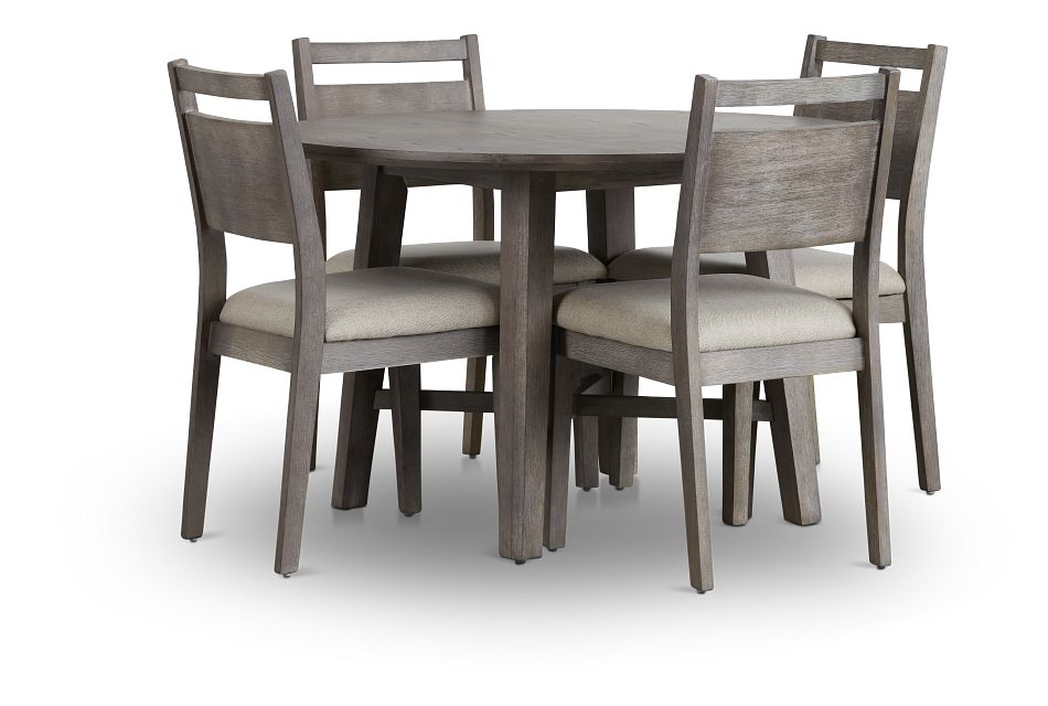 Rockville Light Tone Round Table & 4 Upholstered Chairs,  (1)