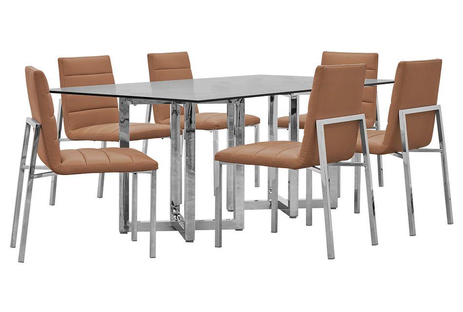 Amalfi Brown Glass Rectangular Table & 4 Upholstered Chairs