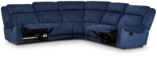 Beckett Dark Blue Micro Small Two-arm Manually Reclining Sectional (3)