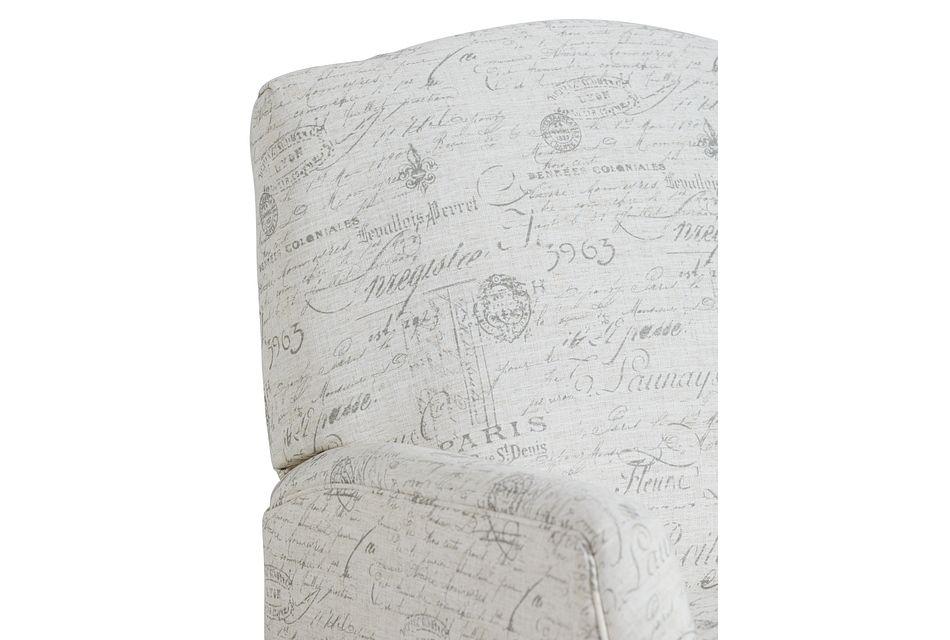 Script Beige Fabric Push Back Recliner