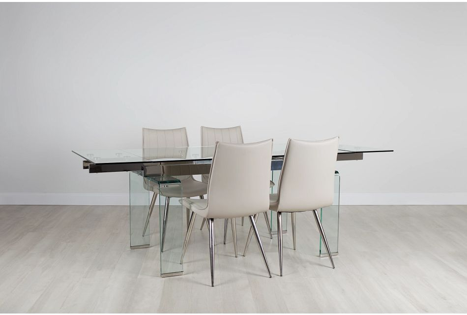 Wynwood Glass Rect Table 4 Light, Wynwood Dining Room Set