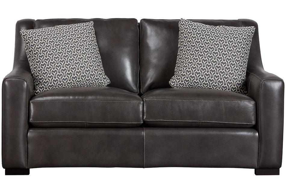 Germaine Dark Gray Leather Loveseat