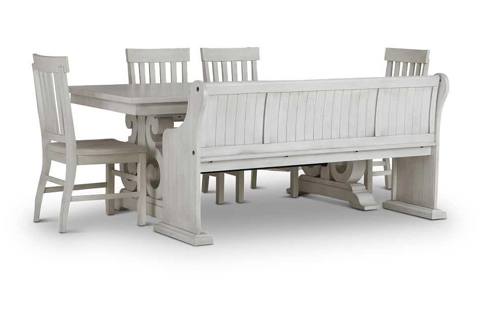 Sonoma Ivory Trestle Table, 4 Chairs & Bench