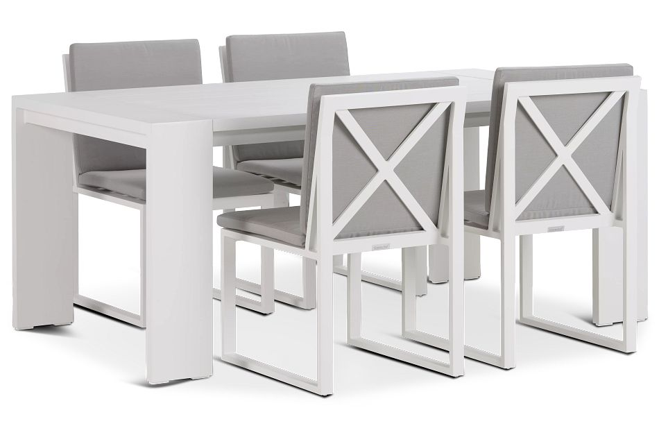 """Linear White Dark Gray 70"""" Aluminum Table & 4 Cushioned Side Chairs"""