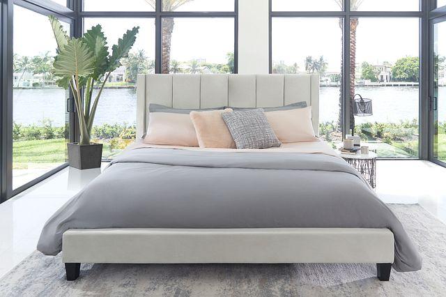 Audrey Beige Velvet Platform Bed (3)