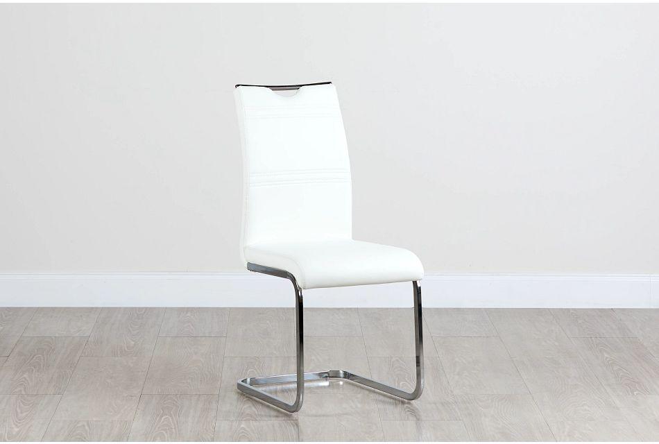 Treviso White Upholstered Side Chair